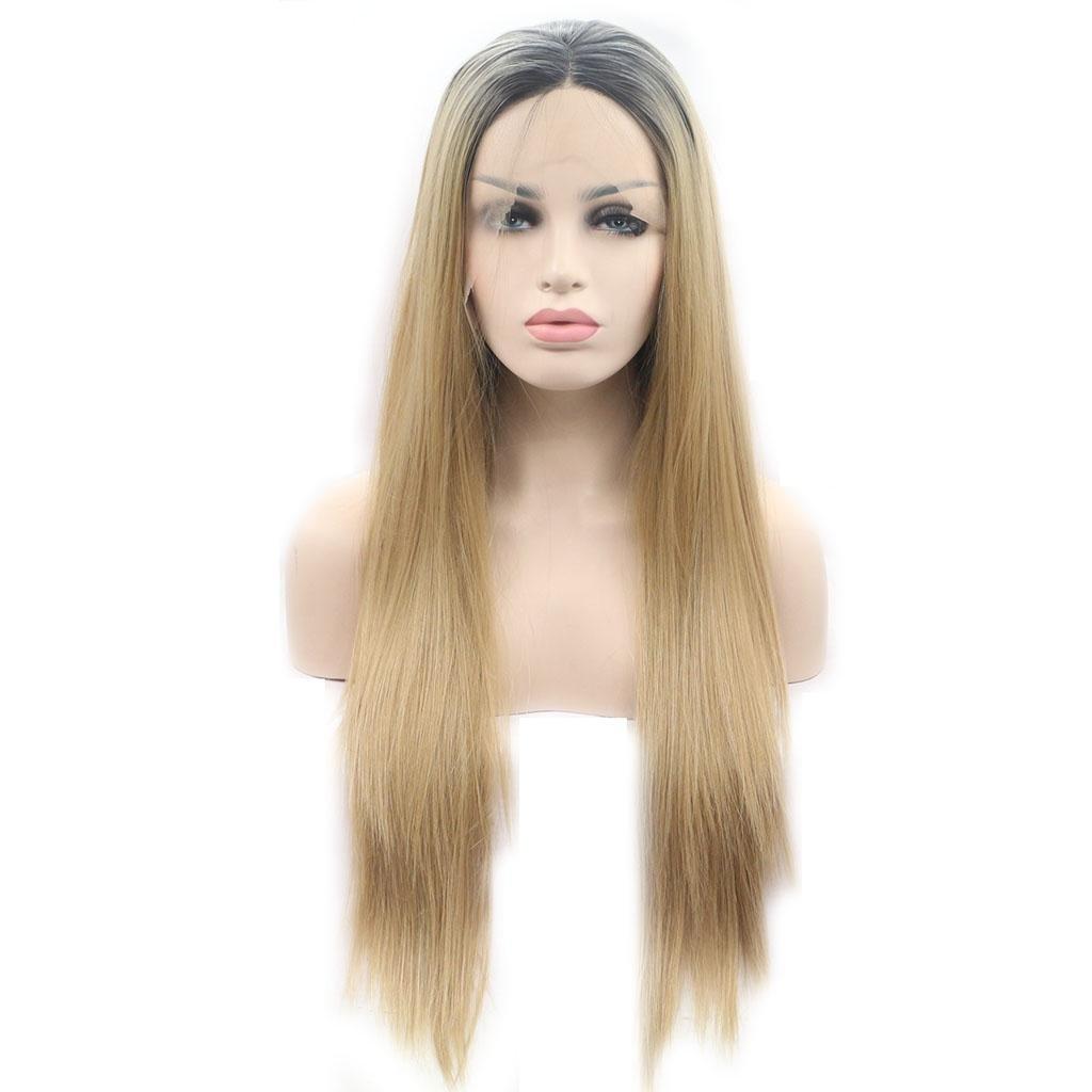 AN-LKYIQI Pelucas Europa y los Estados Unidos cosplay realista natural de oro gradiente de fibra química de alta temperatura del cordón de alambre peluca