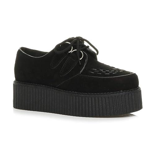 3c5287225c Ajvani Womens ladies flat platform wedge lace up punk creepers shoes boots  size 3 36