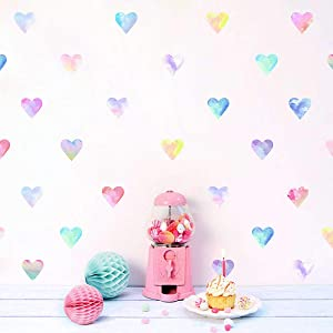 Colorful Heart Wall Decals Watercolor Hearts Wall Stickers Heart Wall Decals for Girls Bedroom Nursery Kids Room Decor