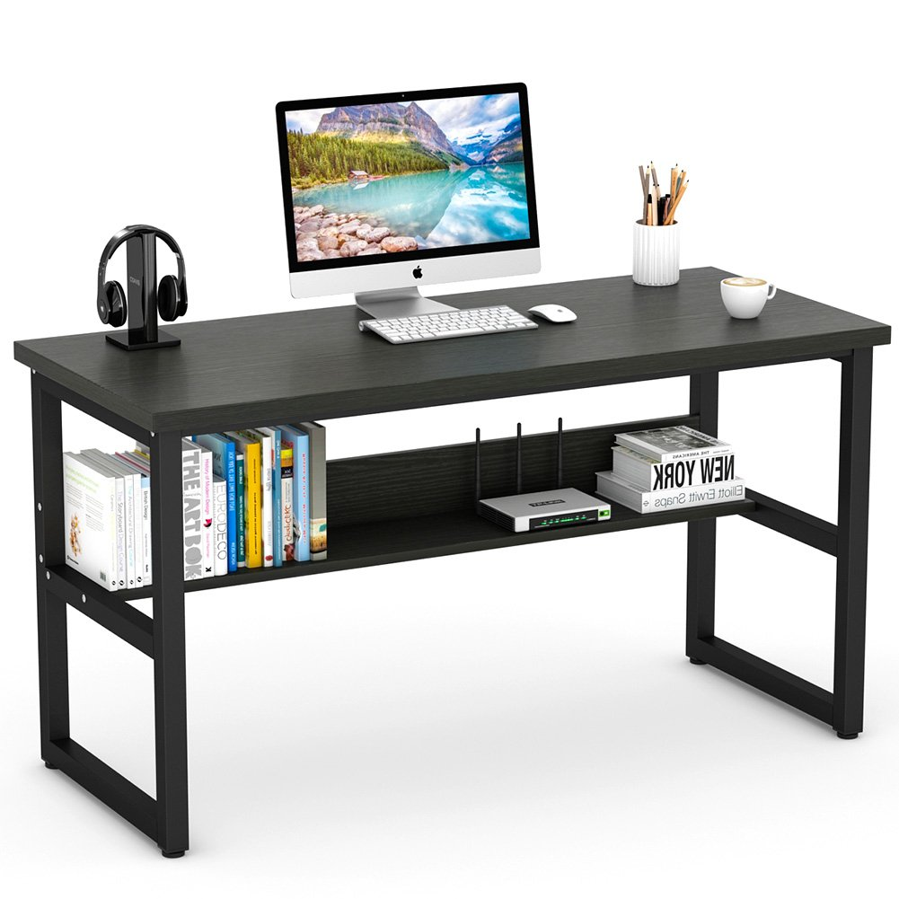 Tribesigns Computer Desk with Bookshelf Works as Office Desk Study Table Workstation for Home Office (55'', All Black)