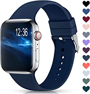 Sport Bands Compatible with Apple Watch Band 38mm 40mm 42mm 44mm,Soft Silicone Replacement Wristbands Straps for iWatch Series 1/2/3/4/5 Women Men