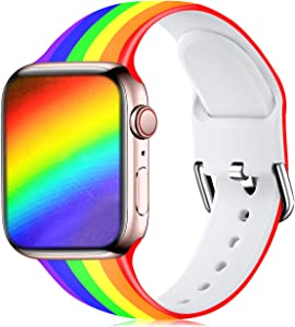 Wepro Compatible with Apple Watch Band 38mm 40mm iWatch SE & Series 6, Series 3, Series 5 4 2 1 for Women, Fadeless Floral Pattern Printed Silicone Wrist Bands Replacement, Rainbow, S/M