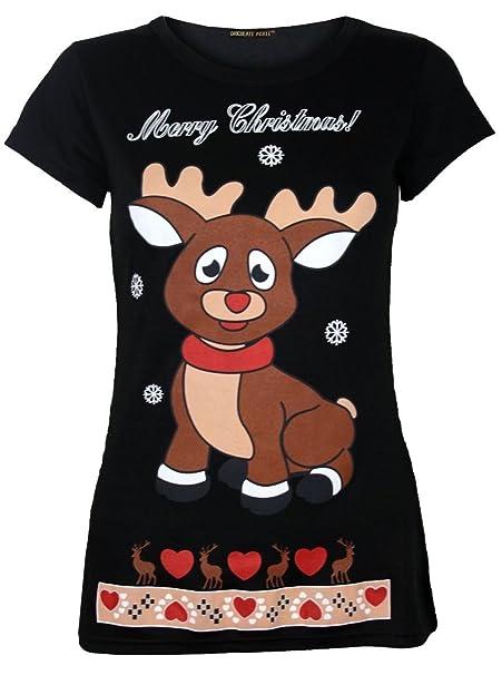 Neue Damen-Liebes-Herz Infant Reindeer Short Sleeve Weihnachten Tops Black  36-38