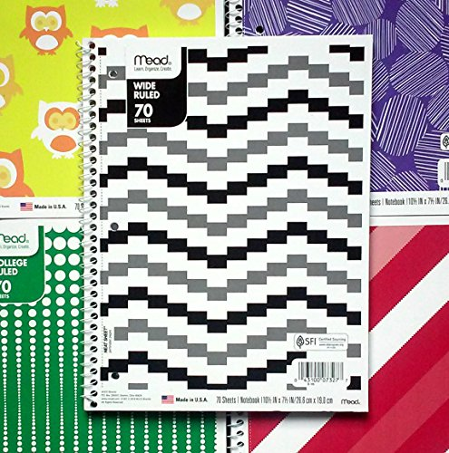 Mead Fashion Premium Wide Ruled 70-pg Spiral Notebooks (5-pack, Assorted Colors)