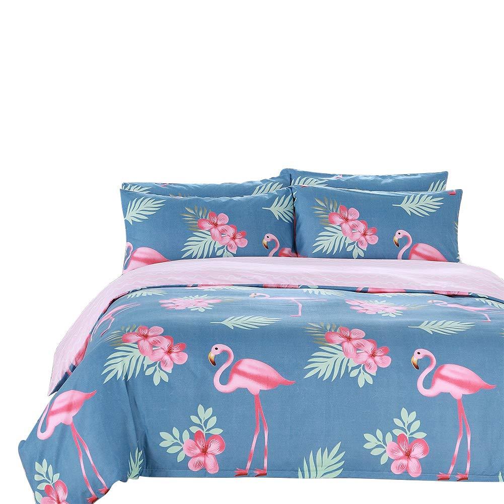 Arachnes Needle Queen Duvet Cover Set, 3 Piece (1 Duvet Cover and 2 Pillowcases) Comforter Cover Animal Botanical Print Bedding Set Living Room Decor Blue