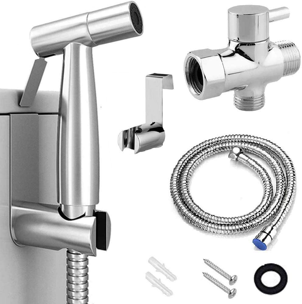 Feeke Handheld Bidet Sprayer For Toilet Adjustable Water Pressure Control Premium Stainless Steel Bathroom Bidet Sprayer Set With Bidet Hose For Feminine Wash Stainless Steel Brushed Nickel Cloth Dia Amazon Com
