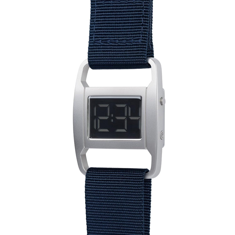 PXR-5 - Digitaluhr von Michael Young fÜr VOID - Style: Matt Silber & Navyblaues Nylon Armband