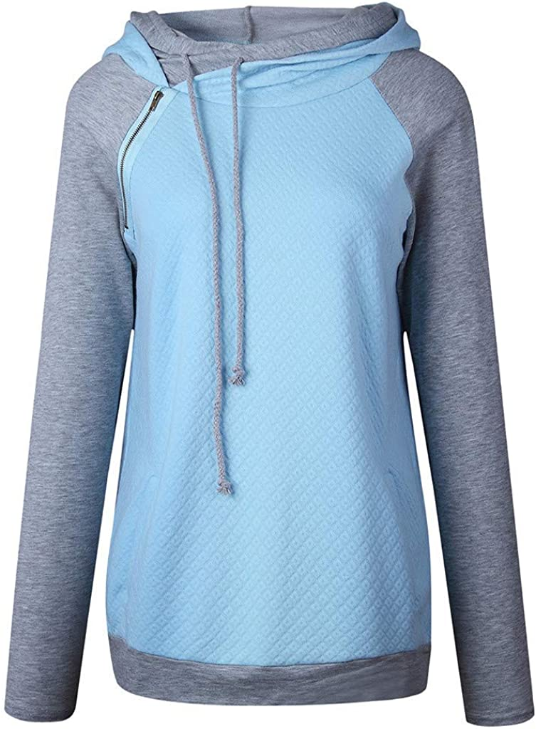 DONTAL Tops for Women Zipper Sweatshirt Long Sleeve Hoodies Spliced Color Casual Ladies Pullover