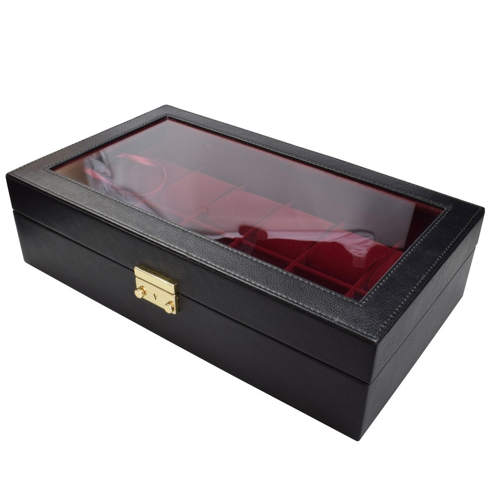 Ikee Design Black Leatherette Red Velvet 12 WatchCase Box Display & Jewelry Organizer w Glass Top