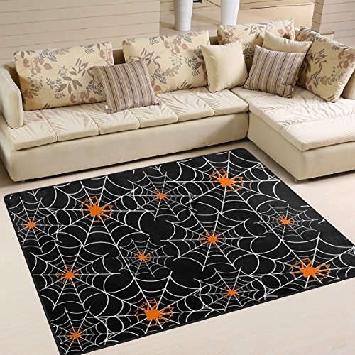 Naanle Halloween Spider Web Non Slip Area Rug for Living Dinning Room Bedroom Kitchen, 4' x 5'(48 x 63 Inches), Halloween Holiday Nursery Rug Floor Carpet Yoga Mat