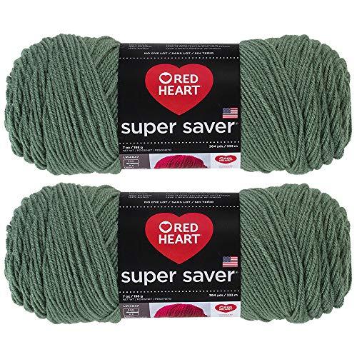 Bulk Buy: Red Heart Super Saver (2-Pack) (Light Sage, 7 oz Each Skein)
