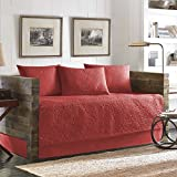 Red 5 Pieces Signature Stitching Daybed Set Made From Cotton, Coastal, Solid Color and Textured Pattern Country Style Included Cross Scented Candle Tart