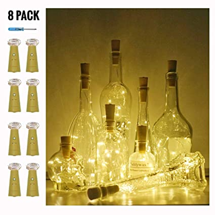Wine Bottle Lights with Cork Wedding Indoor Outdoor Warm White Decor 10 Pack Battery Operated LED Cork Shape Silver Copper Wire Colorful Fairy Mini String Lights for DIY Party
