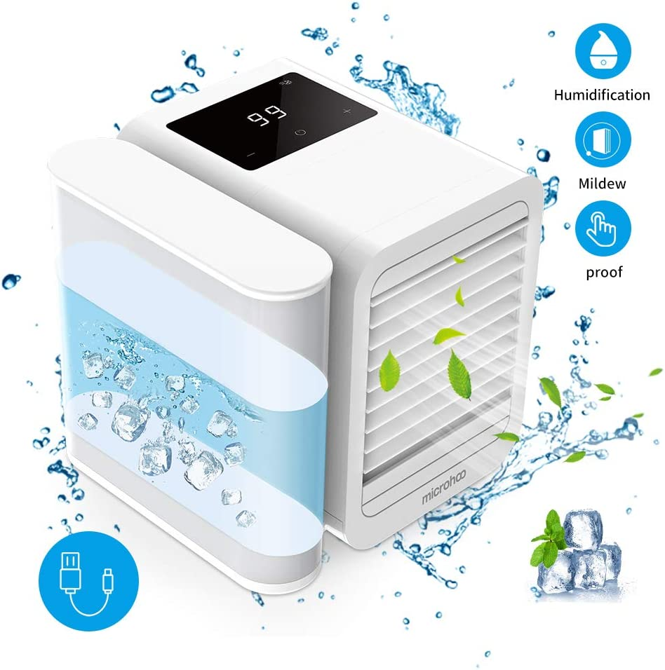 Personal Air Cooler Air Conditioner Fan, 3 in 1 USB Portable Mini Space Cooler, Evaporative Humidifier, Purifier, Cooling Fan for Home Offices Kitchen (White)