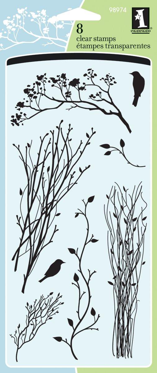 Inkadinkado Bird and Branch Clear Stamp Set, 8pc