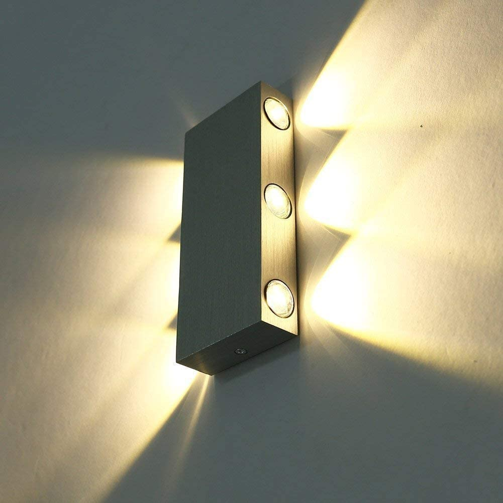 6W,Cool White Louvra Wall Lights Modern Up and Down Wall Light LED Interior Wall Sconce Lamp Aluminium Wall Uplighters Downlighters for Living Room Bedroom Pathway Hallway