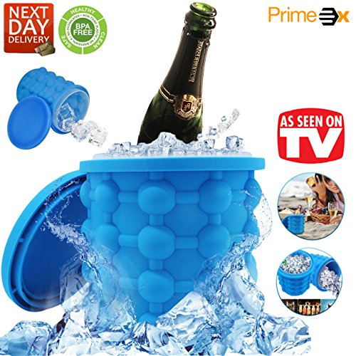 Silicone Ice Cube Maker Genie By Primex   Space Saving Ice Cube Mold With Revolutionary Design   Nontoxic Easy Release Ice Bucket With Airtight Lid For Odorless Ice Cubes Magic Ice Wizard Gift