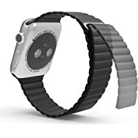 For Apple Watch 42mm - Genuine Leather Magnetic Lock Loop Band Strap For Apple Watch 42mm Black