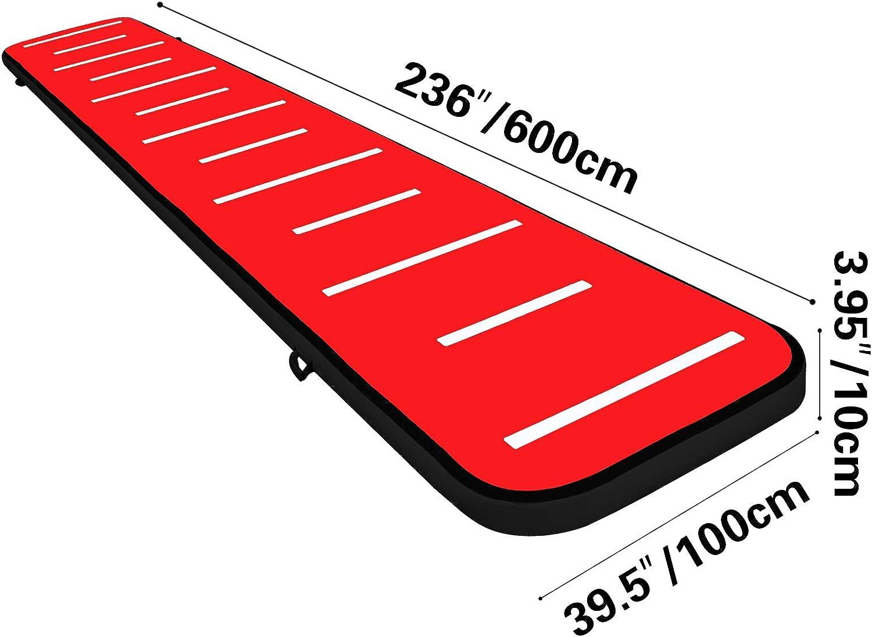 VEVOR Tapis de Gymnastique Gonflable 3M Tapis de Gymnastique Airtrack Epaisseur 20cm Tapis de Tumbling Thermoscell/é Piste Gonflable Gymnastique Bleu et Vert Yoga Club de Fitness Domicile sur l/'Eau