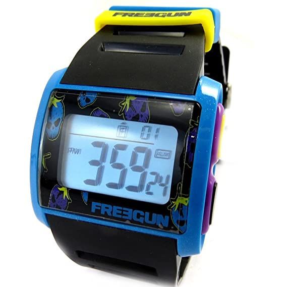 Silicona reloj de pulsera Freegunazul púrpura amarillo negro (digital).