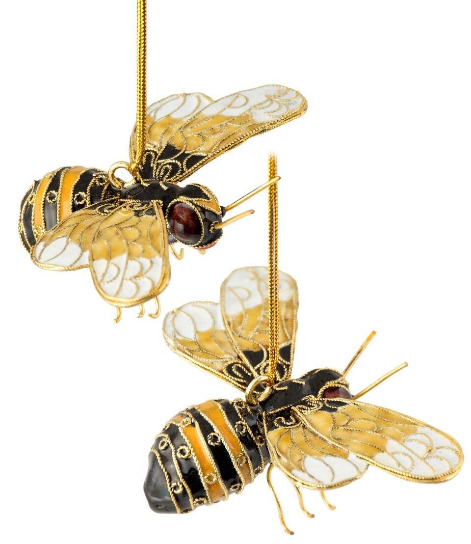 Christmas Ornaments, 2 Piece Set Handmade Cloisonne Bumble Bee Ornament