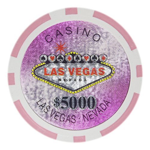 Brybelly Las Vegas Casino Poker Chip Heavyweight 14-gram Clay Composite – Pack of 50 ($5000 pink) - Clay Pro Poker Poker