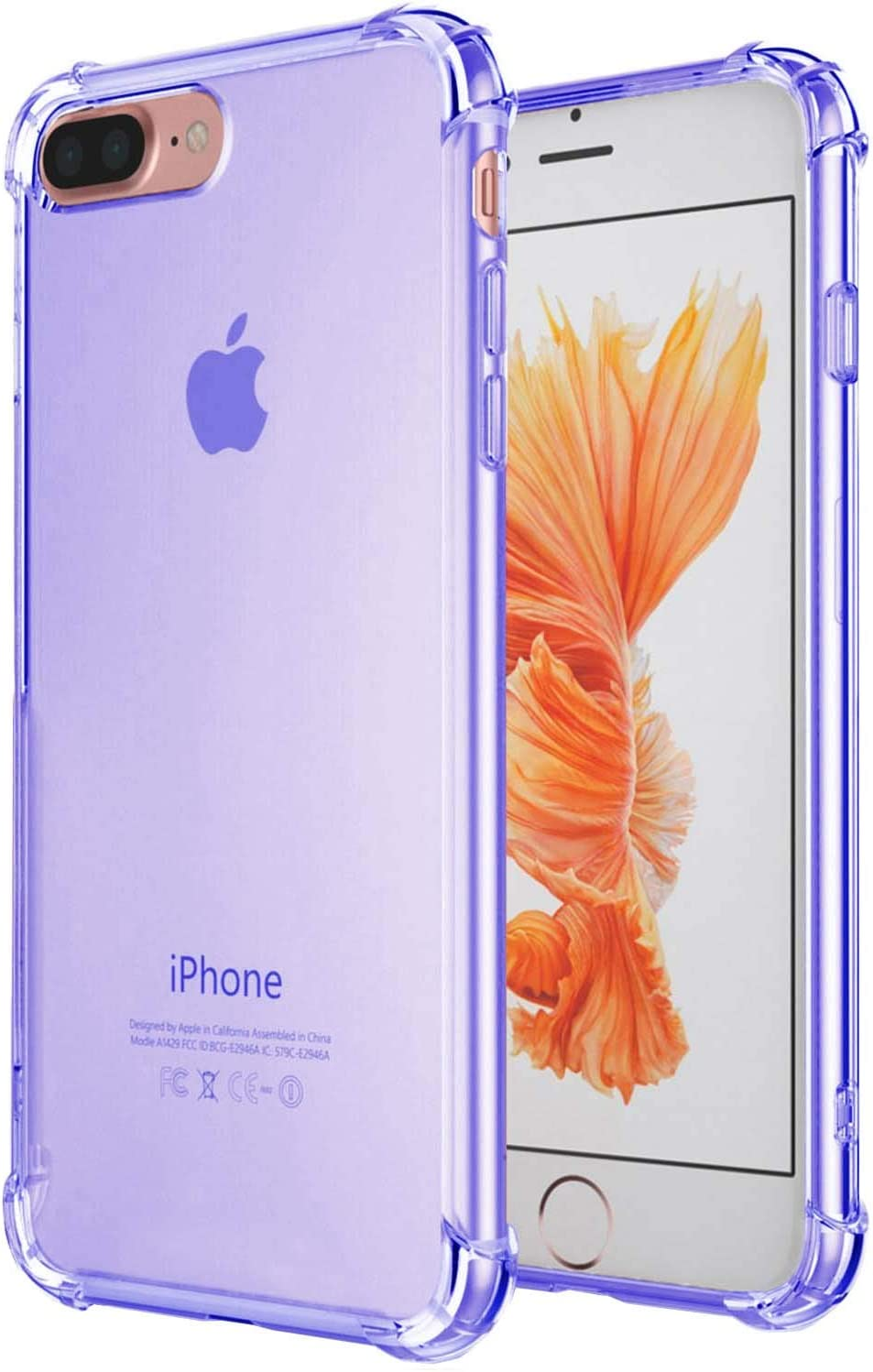 Compatible with iPhone 8 Plus Case, iPhone 7 Plus Case, iEugen Crystal Clear Shock Absorption Technology Bumper Soft TPU Cover Case for iPhone 7 Plus/iPhone 8 Plus (2017) - Clear (Blue)