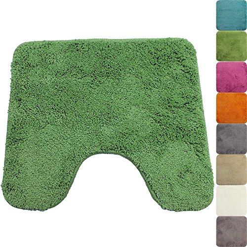 WC Vorleger Lasalle 45 x 50 cm in Grün mit Ausschnitt Premium Badvorleger 1200 g/m² - weitere Farben & Größen wählbar