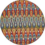 Unique Loom Outdoor Collection Colorful Abstract Transitional Indoor and Outdoor Multi Round Rug (8′ x 8′) Review
