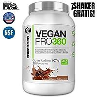 Proteina Vegana, Vegetal, Orgánica, Importada, 100% Natural en polvo Vegan Pro 360 Forzagen 2 lb Sabor Malteada de Chocolate Suplemento Gym, Ahora con Shaker Gratis!