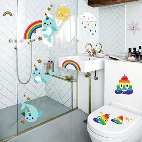 Unicorn Wall Tile Stickers Bathroom Kids Decoration Home Wall Tile Decals