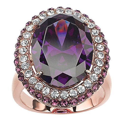 Rings : Amethyst Cocktail Ring (Oval-Cut Purple Amethyst Cubic Zirconia Rose Gold-Plated Double Halo Cocktail Ring Size 10)