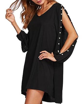 edfc7896968 Aofur Ladies Dress Women V Neck Strapless Party Summer Beach Cocktail Short  Mini Dress (8
