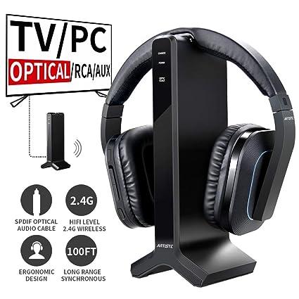 D1 TV Auricular inalámbrico 2,4 GHz Digital transmisor Base de Carga múltiples Auriculares conexión