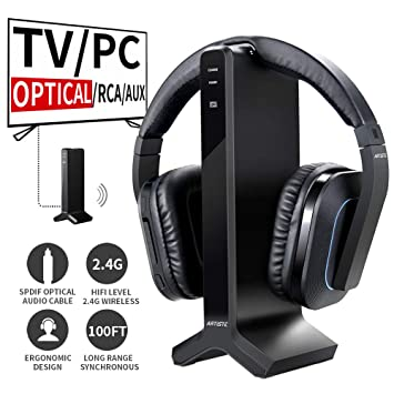 74f9f59a0b8 Artiste D1 Wireless TV Headphone with 2.4GHz Digital Transmitter Charging  Dock,Multiple headphones Connected