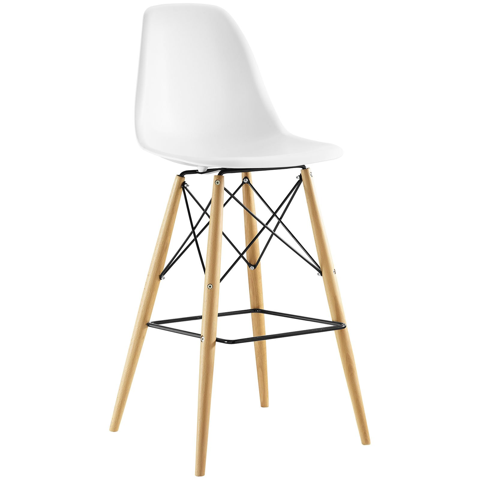 Modway Pyramid Mid-Century Modern Bar Stool with Natural Wood Legs in White by Modway