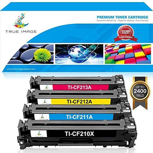True Image 4 Pack Compatible HP 131X CF210X Toner Cartridge for HP 131A CF210A 131a for HP LaserJet Pro 200 color M251nw M251 M251n M276 M276n M276nw Canon MF8280Cw Printer (Black,Cyan,Magenta,Yellow)