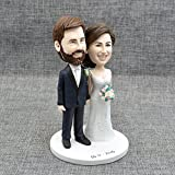 Custom Wedding Cake Topper,Handmade Portraits