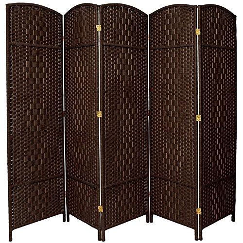 Oriental Möbel 6ft. Hoch Diamant Weave Faser Raumteiler–5Panel Dark Mocha