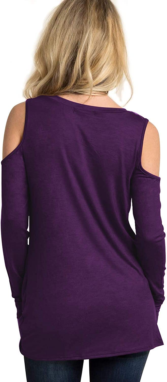 Eanklosco Cold Shoulder Tops Women Off Shoulder Blouses Long Sleeve Shirts with Front Knot Design Tunics