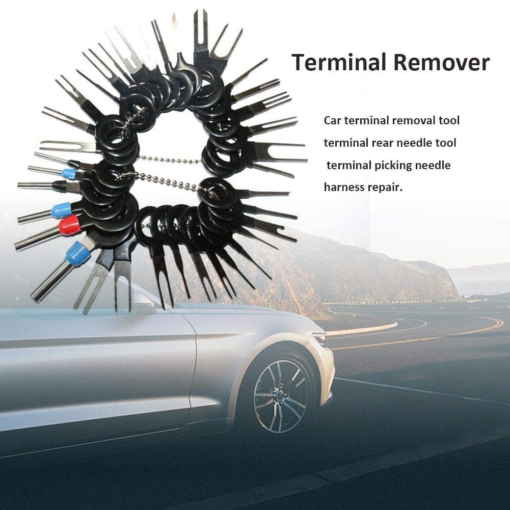 ACUMSTE Auto Terminals Removal Tool Set Terminal Remover Car Electrical Wiring Crimp Connector Pin Extractor Kit Stainless Steel Needle Retractor Harness Connection Needle Picking Tool Pusher For Car 38pcs