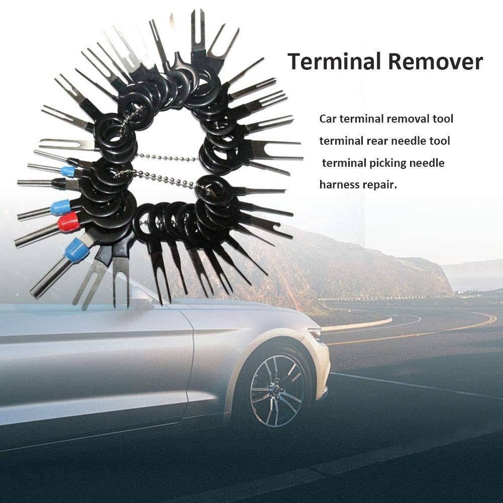 Auto Electrical Wiring Crimpverbinder Erdnagelzieher Kit RUIXINBC 38Pcs Car Terminals Removal Key Tools Set Edelstahl-Nadel-Spreizer Harness Anschluss Pusher Terminal-Remover