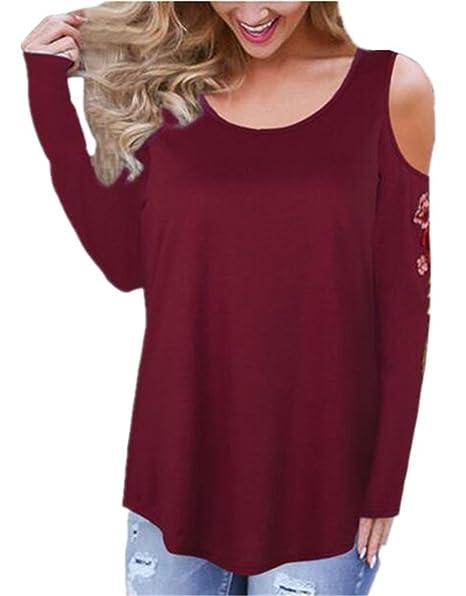 Tayaho T-Shirt Manga Larga Mujer Camisa Ocasionales Casual Blusa Bordada Floral Tops Cuello Redondo