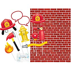 Fire Fighter Photo Booth Props and Backdrop Set - Set of 10 Photo Booth Props and Brick Photo Booth Background - Perfect Decorations for Fire Truck Birthday Party!