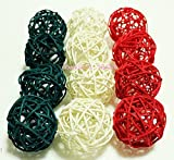 Christmas Gifts : Small White, Dark Green, Red Rattan Ball, Wicker Balls, DIY Vase And Bowl Filler Ornament, Decorative Spheres Balls, Perfect For Decoration On Any Occasion 2 - 2.5 inch, 12 Pcs.