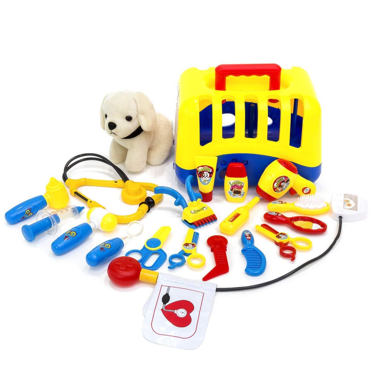 20-Piece Kids Dog Vet Groomer Set w/ Puppy Plush, Carrier, Tools, Best Children's Toys 2019