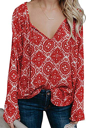 (BLENCOT Womens Ladies Sexy V Neck Floral Blouses Long Sleeve T Shirts Drawstring Casual Flowy Tunic Tops Red S)