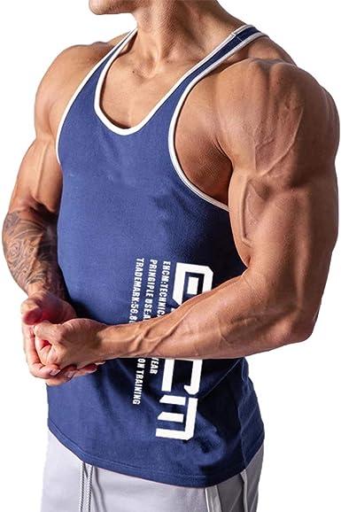 FUOE - Chaleco musculoso para Hombre, para Gimnasio, Entrenamiento atlético, Fitness, Camiseta sin Mangas
