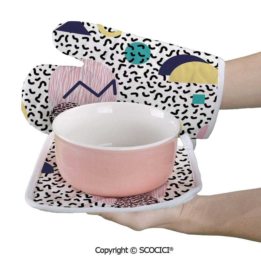 SCOCICI Baking Anti-Hot Glove Geometric Pattern in Retro Style with Round Half Moon Triangle Shapes Artwork Oven Microwave Mitts Pot with Square Mat
