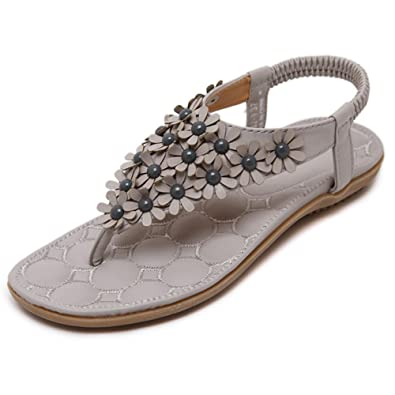 2aa69853c9cd49 Women Bohemia Sandals Slip On Flip Flops Flat for Summer Grey